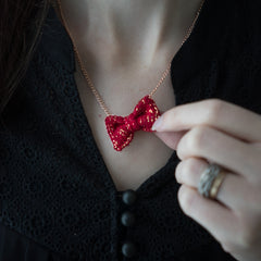 Cherry Red and Gold Mini Bow Tie Necklace