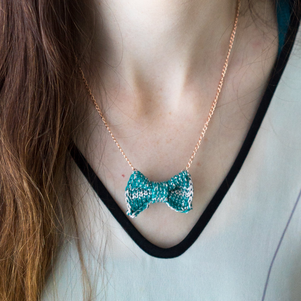 Sparkly Green + Pale Gold Mini Bow Tie Necklace
