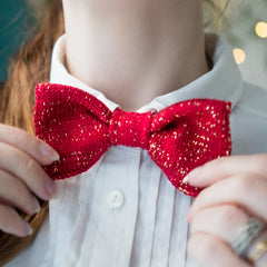 Red Gold Bow Tie on White Collar