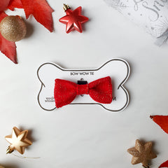 Festive Red Dog Bow Tie