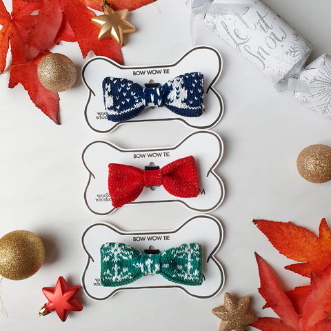 Small /Medium Dog Bow Ties: Snowman, Snowflake and Festive Sparkle