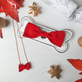 Red Festive Dog Bow Tie and Mini Bow Tie Necklace