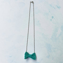Green Bow Tie Necklace