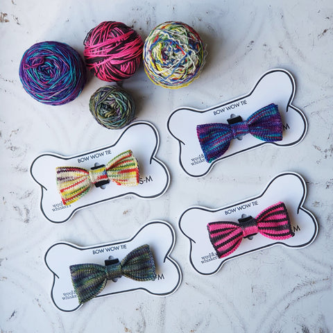 4 Knitted Dog Bow Ties with 4 balls of yarn all different colours