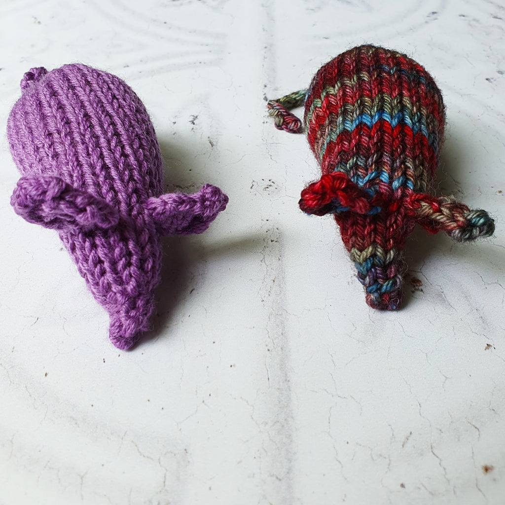 Two knitted mice cat toys