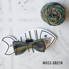 Multi Coloured Green Knitted Cat Bow Tie with Ball of Yarn
