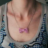Pink Bow Tie Necklace