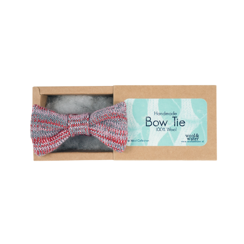 Red and Grey Bow Tie (Wool Blend)