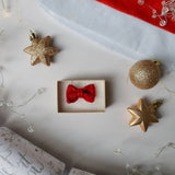 The Bold Festive Bow Tie + Matching Mini Bow Tie Necklace: Cherry Red and Gold
