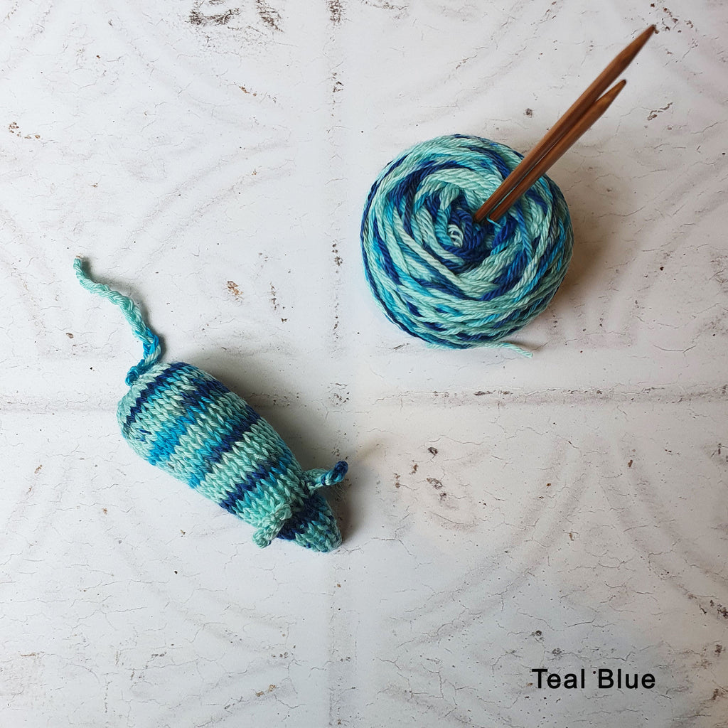 Teal Blue Catnip Mouse Toy and Yarn