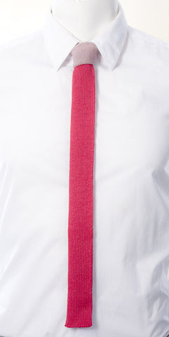 Pink Contrast Knot Skinny Tie