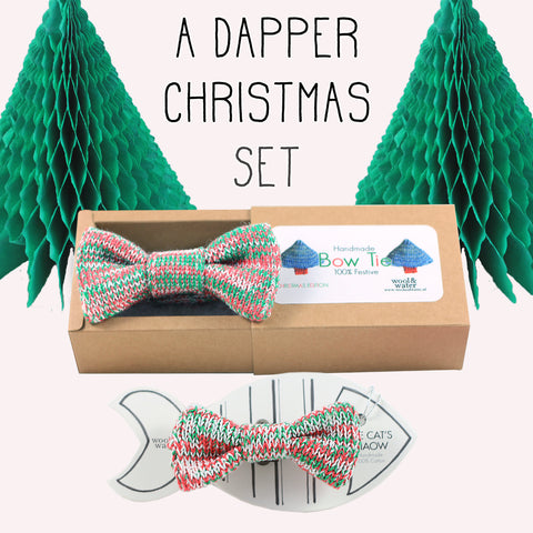 Festive Offer: Christmas Bow Tie & Matching Cat/Tiny Dog Bow Tie