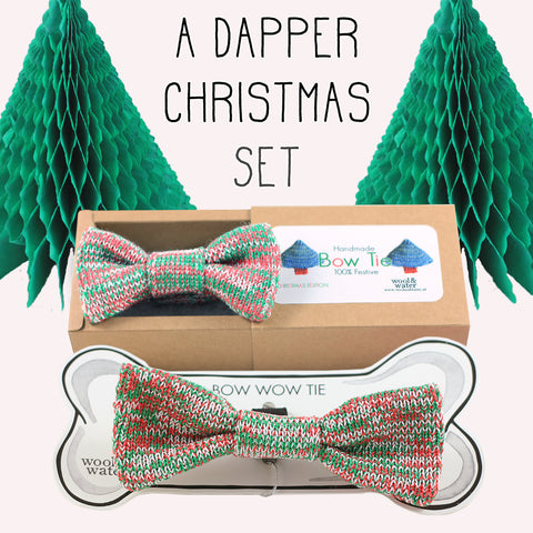 Festive Offer: Christmas Bow Tie & Matching Dog Bow Wow Tie (Large)
