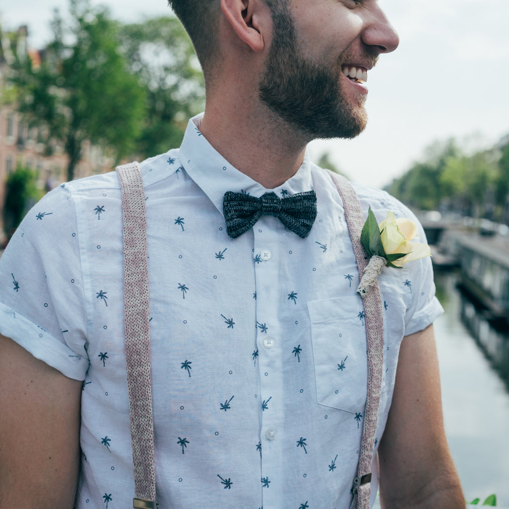 Grey and Black Bow Tie
