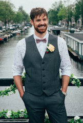 Groom in Wool & Water Bow Tie