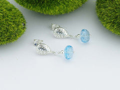 Greek Key in Blue Earrings Sterling Silver Swiss Blue Topaz