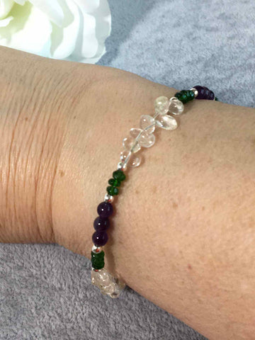 Amethyst and Diopside Sterling Silver Slider Bracelet