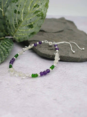 Amethyst with Russian Diopside Sterling Silver Slider Bracelet