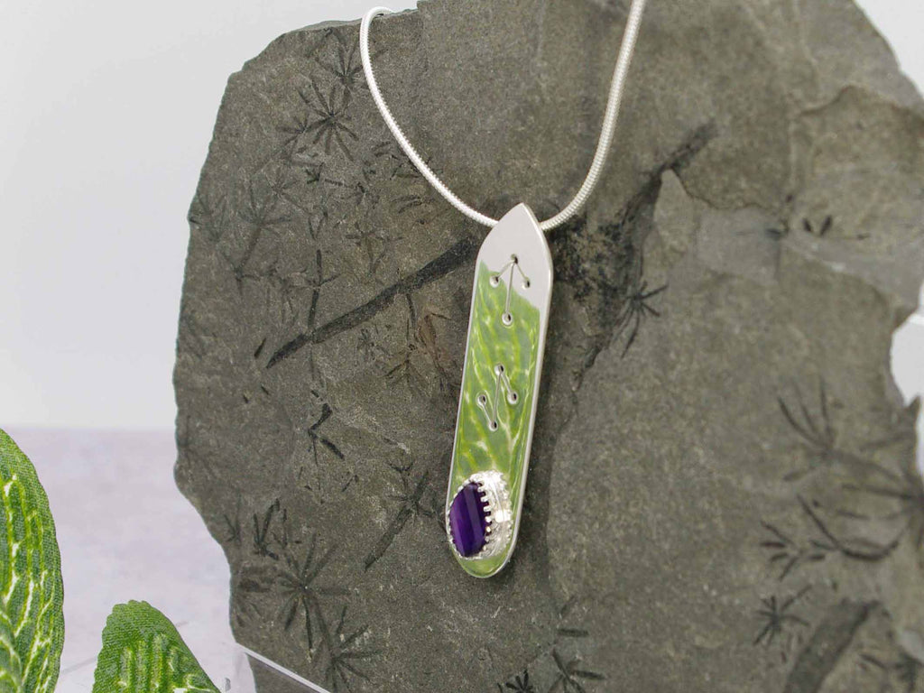 Amethyst Step Cut Runic Sterling Silver Necklace