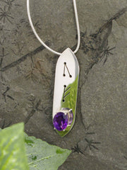 Amethyst Oval Runic Sterling Silver Necklace
