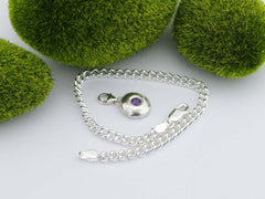 Amethyst Solid Sterling Silver Pebble Charm