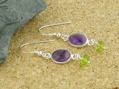 Amethyst Delight Earrings - Petite Cabochon drops of Amethyst with Peridot from Jewellery by Linda