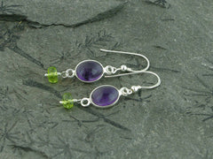 Amethyst Delight Earrings - Petite Cabochon drops of Amethyst with Peridot at Jewellery by Linda