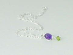 Sterling silver necklace of Amethyst accented with Peridot