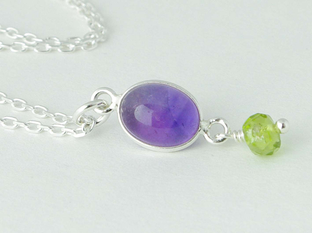 Sterling silver petite necklace of Amethyst accented with Peridot from Jewellery by Linda
