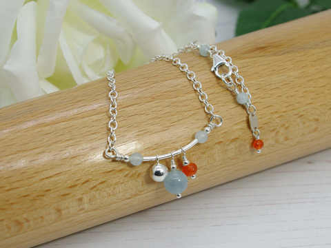 Fidget Necklace - Aquamarine and Carnelian with Sterling Silver