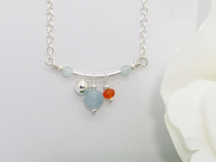 Jewellery by Linda Fidget Necklace - Aquamarine, Carnelian with Sterling Silver