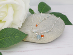Jewellery by Linda Fidget Necklace - Aquamarine and Carnelian on Sterling Silver