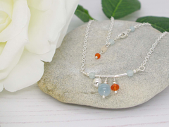 Jewellery by Linda Fidget Necklace - Aquamarine and Carnelian with Sterling Silver