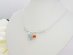 Jewellery by Linda Aquamarine and Carnelian with Sterling Silver Fidget Necklace