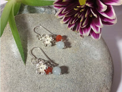 Aquamarine Carnelian Flower Charm Boho Sterling Silver Earrings