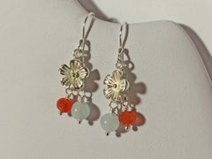 Aquamarine Carnelian Flower Charm Boho Sterling Silver Earrings Jewellery by Linda