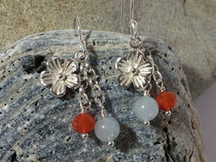 Aquamarine Carnelian Flower Charm Boho Sterling Silver Jewellery by Linda Earrings