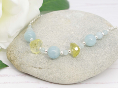 Jewellery by Linda Aquamarine Dream Necklace - Aquamarine with Lemon Quartz on Sterling Silver