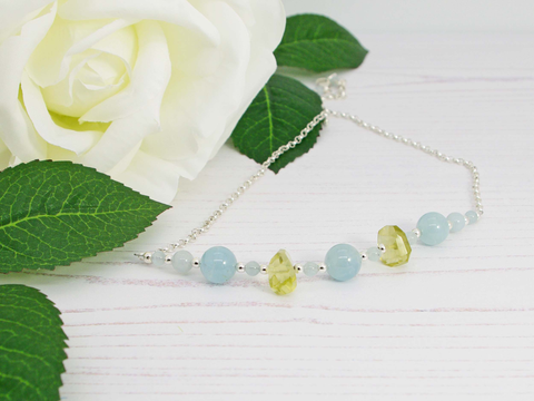 Aquamarine Dream Necklace - Aquamarine and Lemon Quartz on Sterling Silver