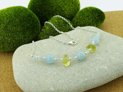 Jewellery by Linda Aquamarine Dream Necklace - Aquamarine and Lemon Quartz with Sterling Silver