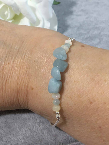 Aquamarine Nugget and Opal Sterling Silver Slider Bracelet