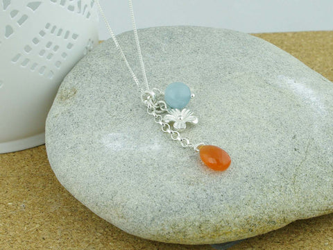 Aquamarine Carnelian Flower Charm Boho Sterling Silver Necklace