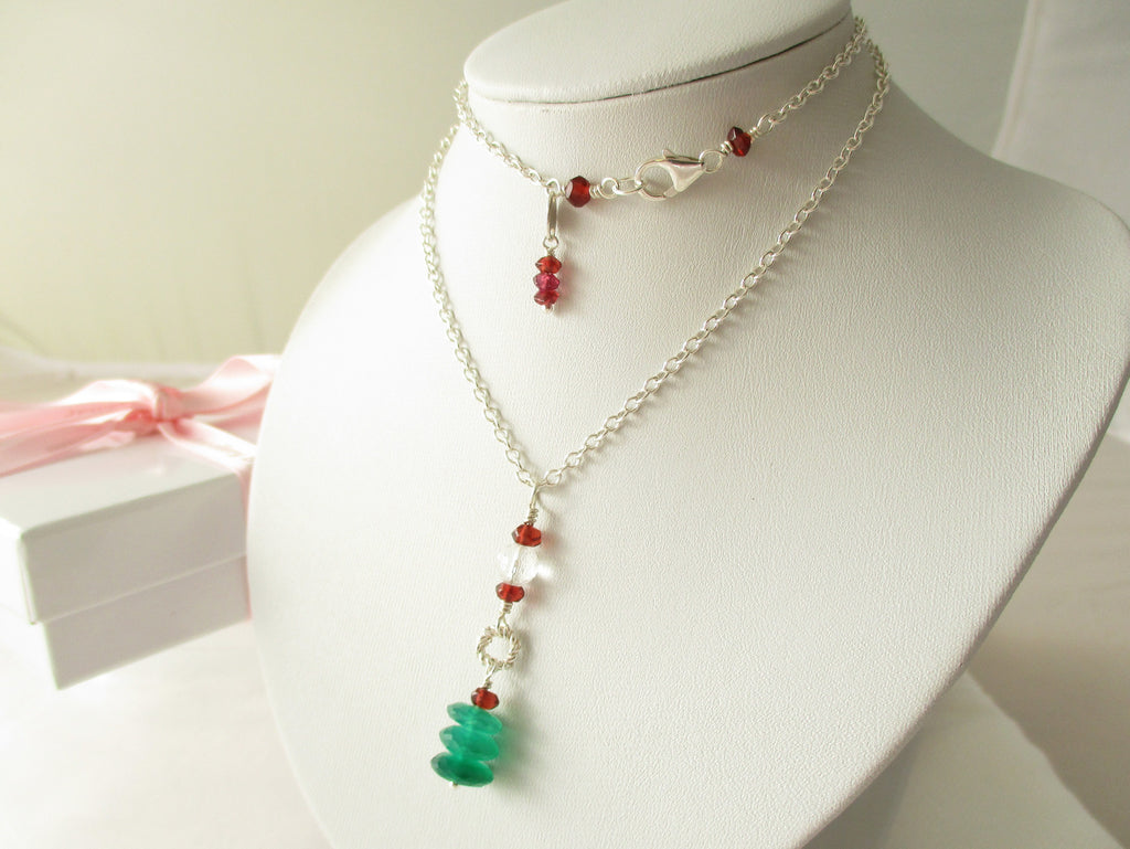 Arbour Necklace - Green Onyx, Garnet, Sterling Silver
