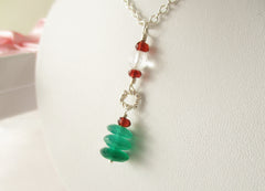 Arbour Necklace - Green Onyx & Garnet, Sterling Silver