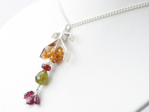 Ardwinna Necklace - Unique Handmade Sterling Silver Pendant with Garnets