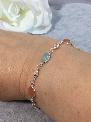 Aquamarine and Peach Moonstone Sterling Silver Slider Bracelet
