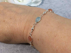 Aquamarine with  Peach Moonstone Sterling Silver Slider Bracelet