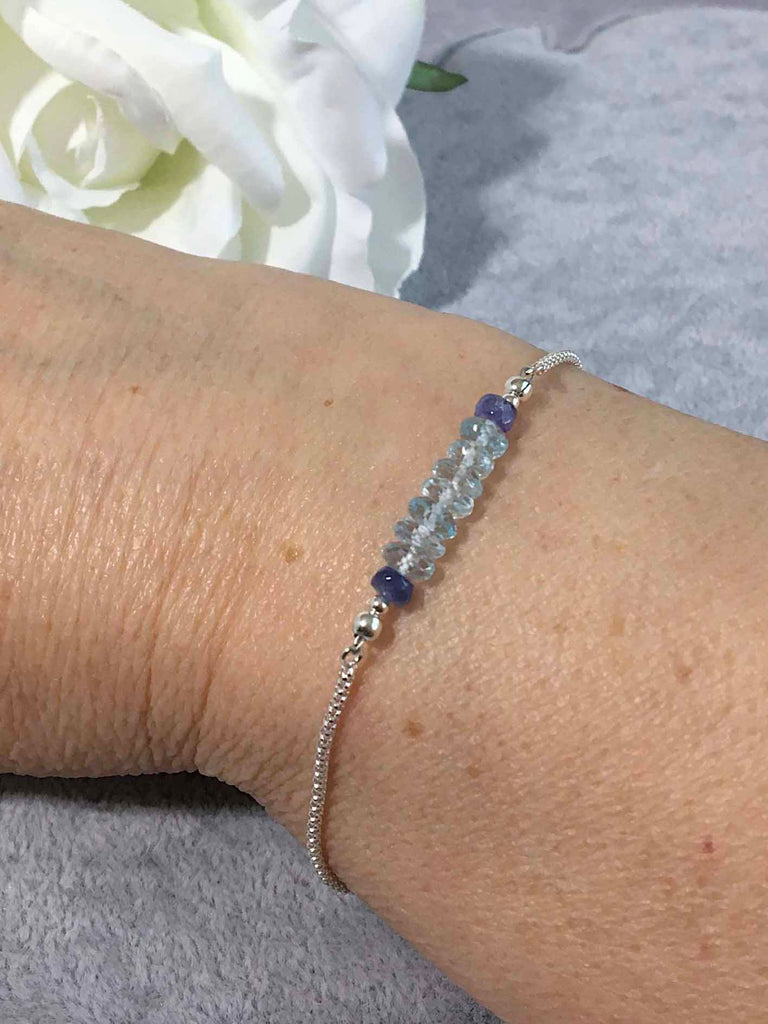 Sky Blue Topaz and Tanzanite Luxury Sterling Silver Slider Bracelet