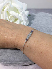 Sky Blue Topaz and Tanzanite Sparkling Sterling Silver Slider Bracelet
