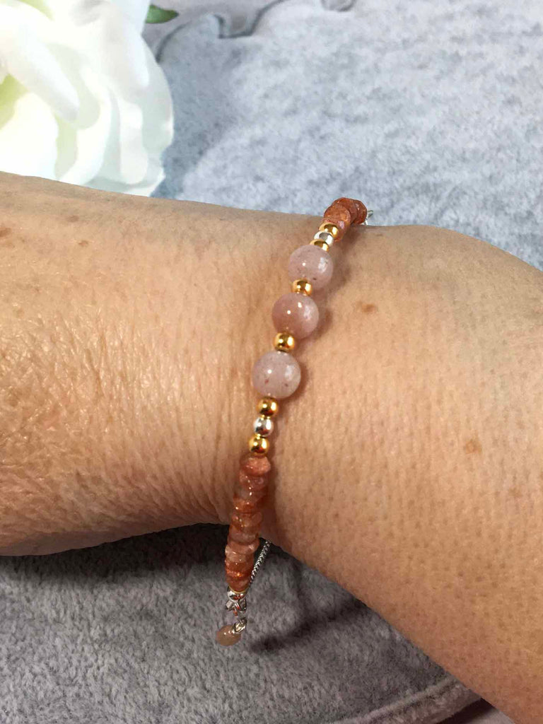 Sunstone and Peach Moonstone Sterling Silver Slider Bracelet